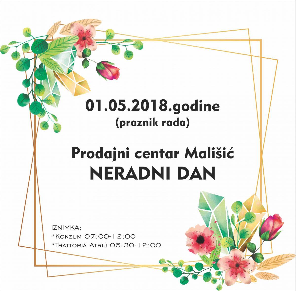 01.05.2018. – Praznik rada – Neradni dan PC Mališić
